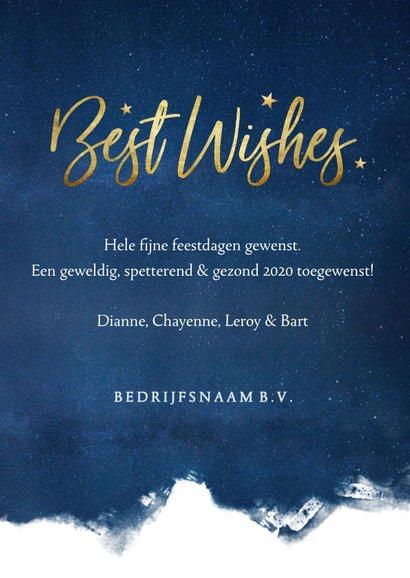 Stijlvolle zakelijke kerstkaart Best Wishes - blauw met goud 3