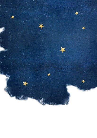 Stijlvolle zakelijke kerstkaart Best Wishes - blauw met goud Achterkant