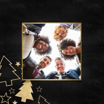 Stijlvolle zakelijke kerstkaart gouden kerstbomen en sterren 2