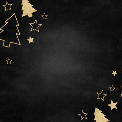 Stijlvolle zakelijke kerstkaart gouden kerstbomen en sterren Achterkant