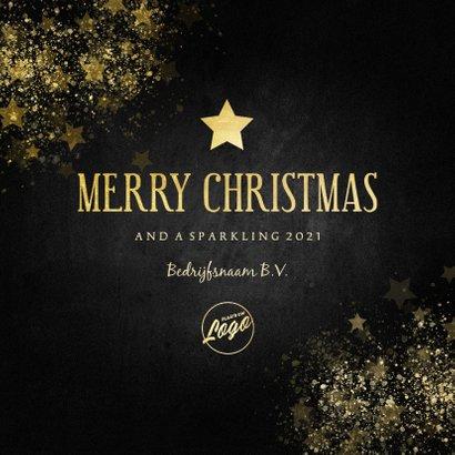 Stijlvolle zakelijke kerstkaart gouden ster Merry Christmas 3