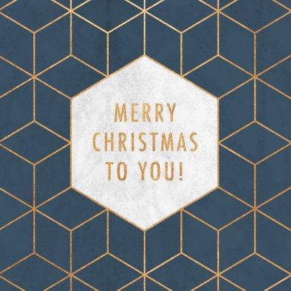 Stijlvolle zakelijke kerstkaart hexagon, marmer & typografie 2
