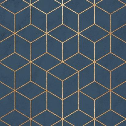 Stijlvolle zakelijke kerstkaart hexagon, marmer & typografie Achterkant