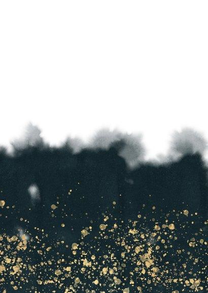 Stijlvolle zakelijke kerstkaart met waterverf, logo en foto Achterkant