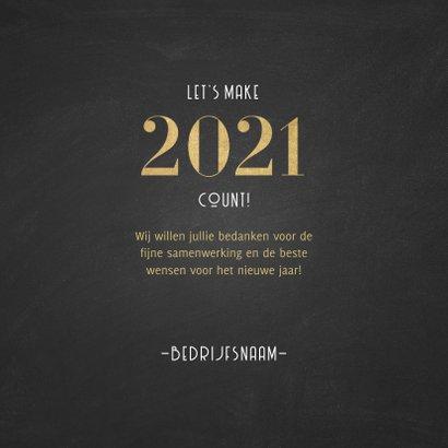 Stijlvolle zakelijke nieuwjaarskaart 2021 patroon met goud 3