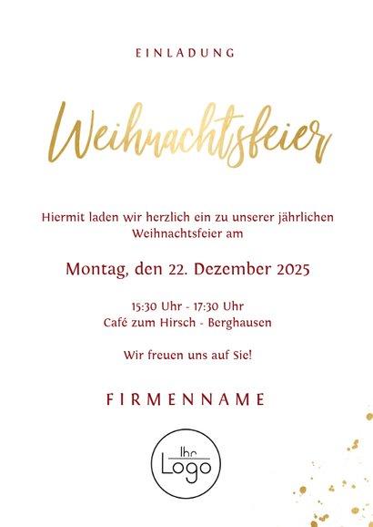 Stilvolle Einladung zur Weihnachtsfeier mit Foto 3