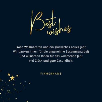 Stilvolle geschäftliche Weihnachtskarte best wishes & Sterne 3