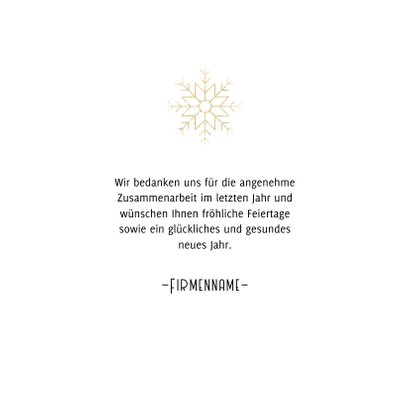Stilvolle geschäftliche Weihnachtskarte goldene Schneeflocke 3