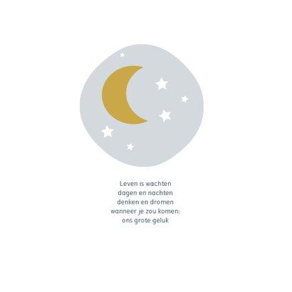 Stoer donkerblauw geboortekaartje met maan en sterretjes 2