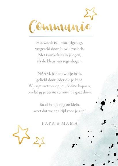 Stoer felicitatiekaartje communie waterverf met verfspatters 3
