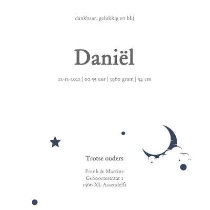 Stoer geboortekaartje goudlook met blauwe sterren en maan 3