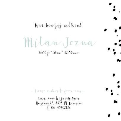Stoer geboortekaartje met confetti stipjes 3