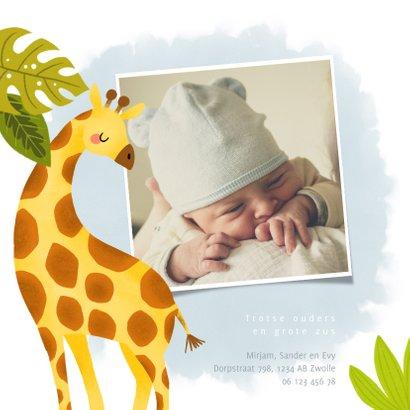 Stoer geboortekaartje met giraffe, plantjes en waterverf 2