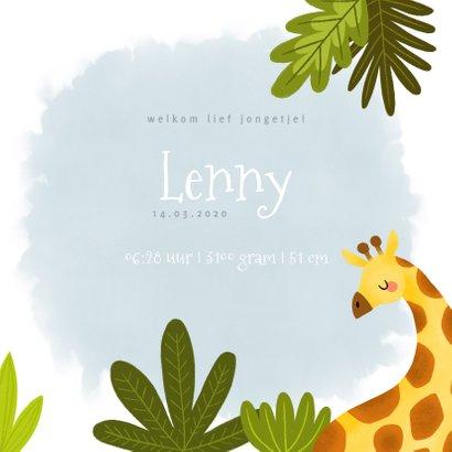 Stoer geboortekaartje met giraffe, plantjes en waterverf 3