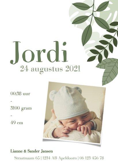Stoer geboortekaartje met illustratie beertje en plantjes 3