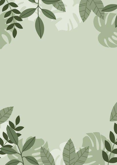 Stoer geboortekaartje met illustratie beertje en plantjes Achterkant