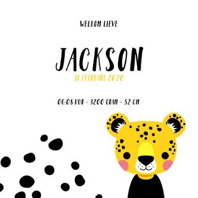 Stoer geboortekaartje met luipaard en zwarte vlekken 3