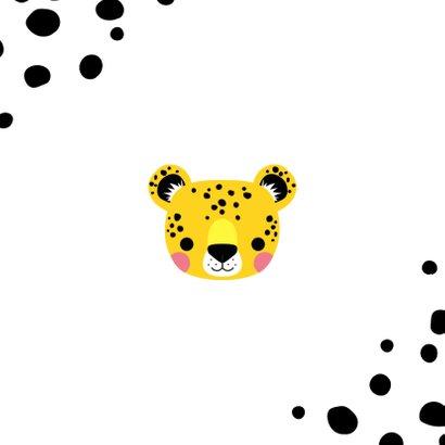 Stoer geboortekaartje met luipaard en zwarte vlekken Achterkant