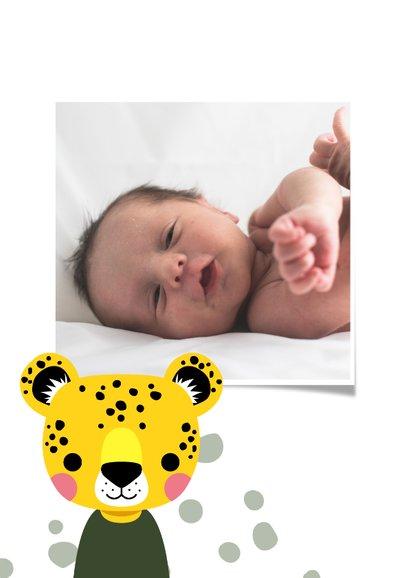 Stoer geboortekaartje met luipaard voor een jongen 2