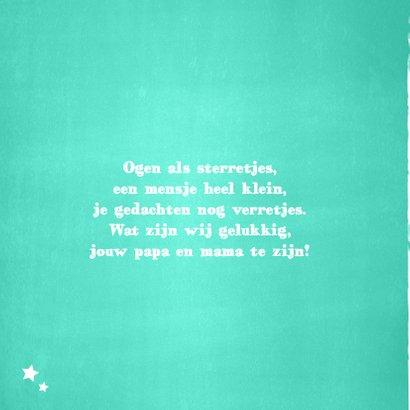 Stoer geboortekaartje  mint groene sterren 2