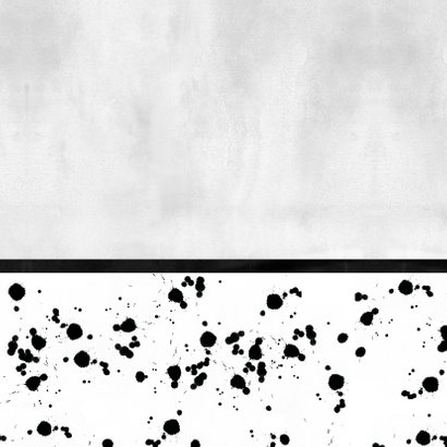 Stoer geboortekaartje monochrome met spetters en foto Achterkant