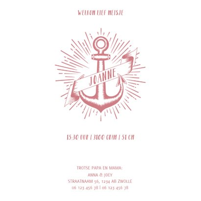 Stoer geboortekaartje voor een meisje met anker 3