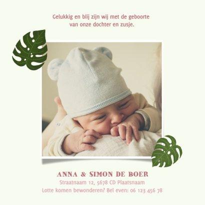 Stoer geboortekaartje voor een meisje met tropische planten 2