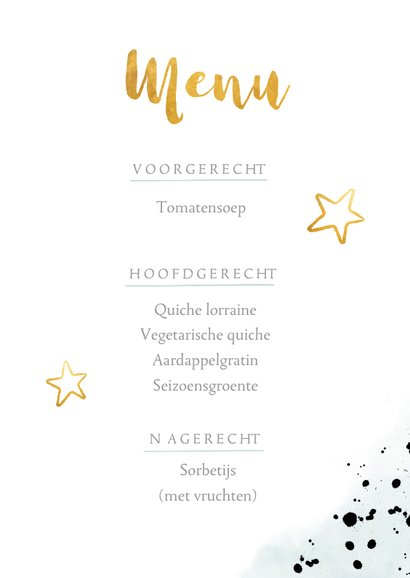 Stoere communie menukaart met verfspetters en gouden sterren 3