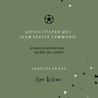 Stoere felicitatie communie voetbal met spetters 3