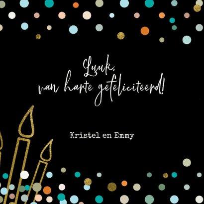 Stoere felicitatiekaart zwart met confetti voor jongen  3