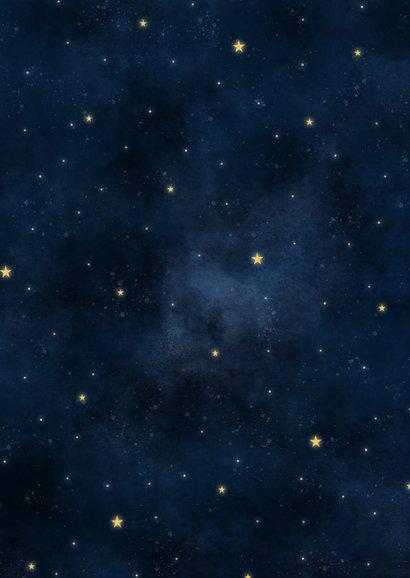 Stoere geboortekaart met maan in hartvorm, sterren en heelal Achterkant