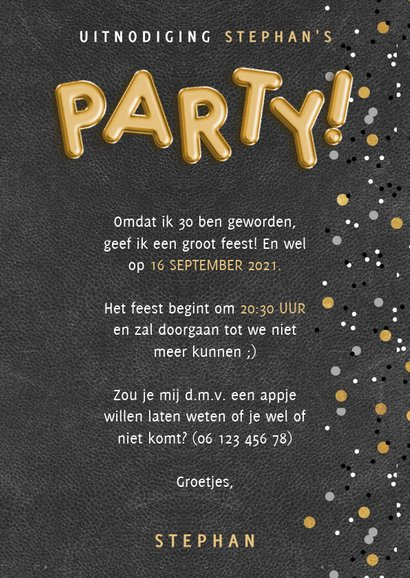 Stoere uitnodiging verjaardag met ballonnen en confetti 3