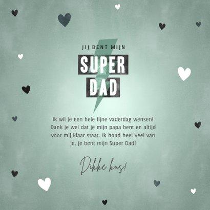 Stoere vaderdag kaart Super Dad met typografie en hartjes 3