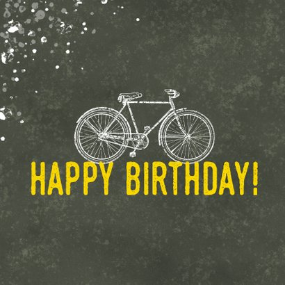 Stoere verjaardagskaart happy birthday fiets en spetters 2