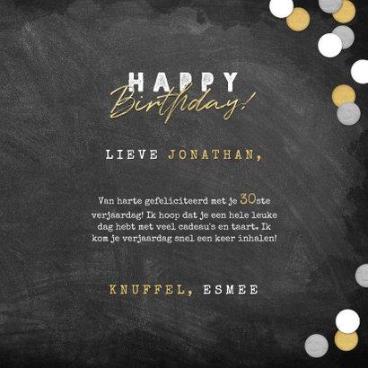 Stoere verjaardagskaart krijtbord, confetti & happy birthday 3