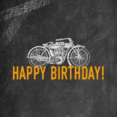 Stoere verjaardagskaart man met motor en happy birthday! 2