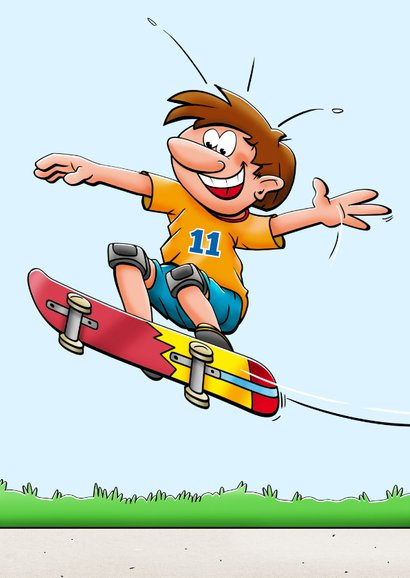 Stoere verjaardagskaart voor jongen met skateboard  2