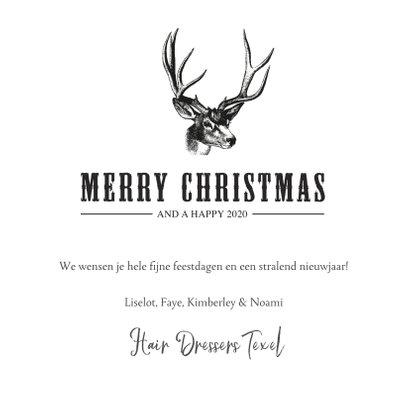 Stoere zakelijke kerstkaart met een illustratie van rendier 3