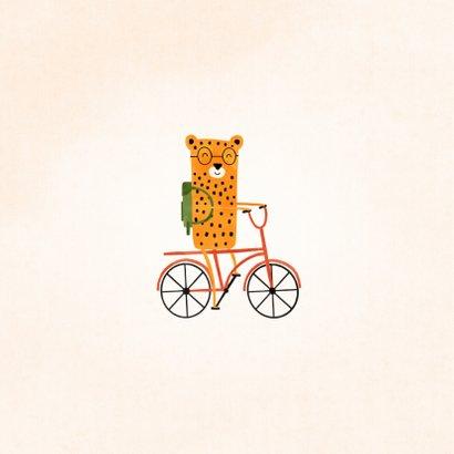 Succes kaart school met luipaardje op rode fiets 2