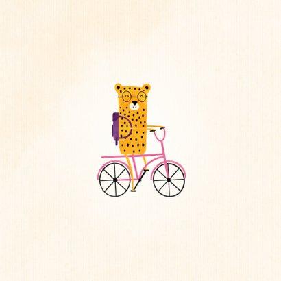 Succes kaart school met luipaardje op roze fiets 2