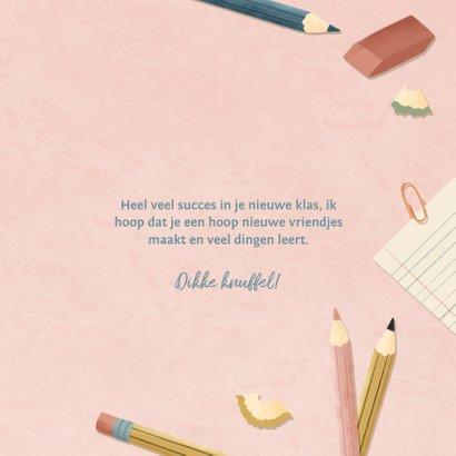 Succeskaart eerste schooldag met potloden, papier en pennen 3
