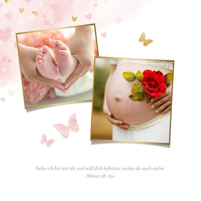 Süße Taufeinladung Foto & Herzen auf Aquarell 2