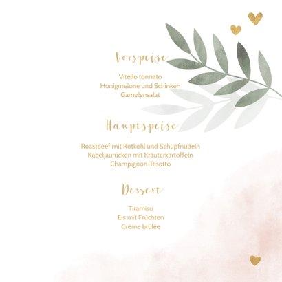 Taufe Speisekarte botanisch rosa Foto innen 3