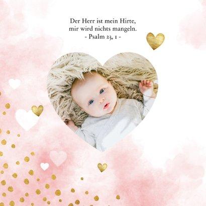 Taufeinladung Aquarell rosa Punkte und Herzen Foto innen 2