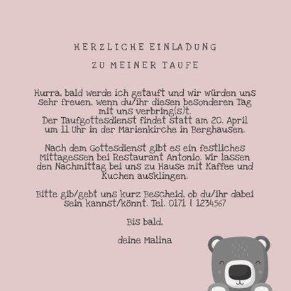 Taufeinladung Bär rosa Foto innen 3