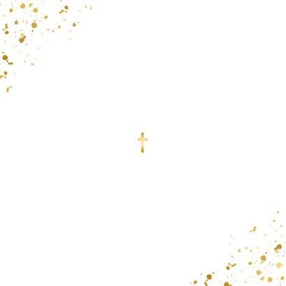 Taufeinladung eigene Fotos goldenes Kreuz Rückseite