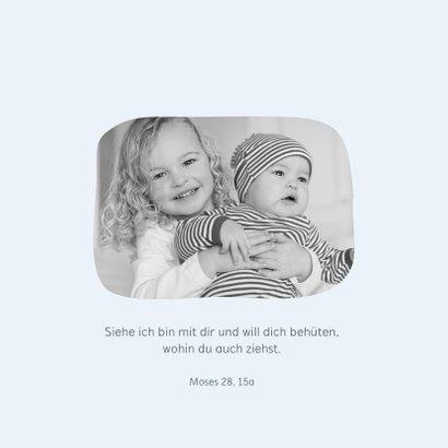 Taufeinladung Eulen-Geschwister blau mit Foto innen 2