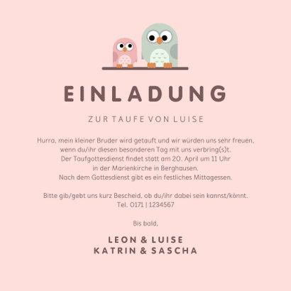 Taufeinladung Eulen-Geschwister rosa mit Foto innen 3