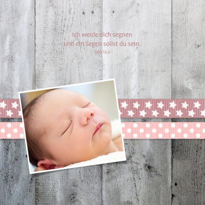 Taufeinladung Foto und Holzherz rosa Bänder 2