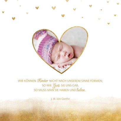 Taufeinladung Goldoptik Herzen & Foto innen 2